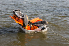Rescue demonstration life raft opening in the water. Dutch rescue demonstration life raft opening in the water Stock Photos