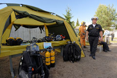 Rescue and diving equipment on the Oranienbaum maritime festival Royalty Free Stock Photography