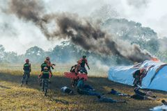 Rescue drill on simulation of passenger airplane crashed in Khao Stock Images