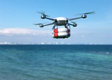 Rescue drone with lifebuoy flying over the ocean. 3D illustration stock illustration