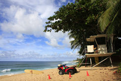 Rescue equipment. A lifeguard house at the beach Royalty Free Stock Images