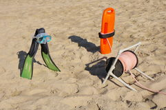 Rescue Equipment on Beach Stock Photography