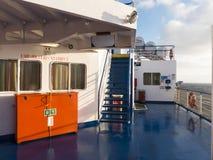 Rescue equipment ship life raft lifebelt embarkation station Royalty Free Stock Image