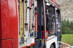 Rescue equipment, tool of fire-fighting truck Royalty Free Stock Images