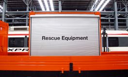 Rescue equipment on the truck of train. Royalty Free Stock Images