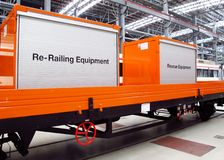 Rescue equipment on the truck of train. Rescue equipment box the  train for emergency event Stock Photo