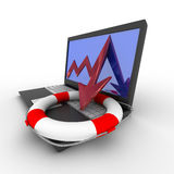 Rescue from financial crisis. Isolated 3D image Royalty Free Stock Photo