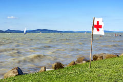 Rescue flag at Lake Balaton Stock Images