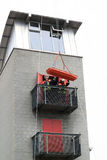 Rescue from heights. BAD AROLSEN, GERMANY - SEPTEMBER 05: members of fire brigade demonstrating a rescue from heights, day of opened doors September 05, 2011 in Stock Photography