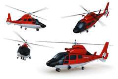 Rescue Helicopter. Composite renders of a detailed 3D model of a rescue helicopter against white background stock illustration