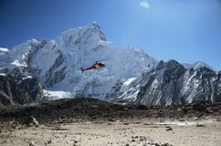 Rescue helicopter. In the Everest ridge royalty free stock photo