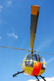 Rescue helicopter. From front against blue sky Royalty Free Stock Photography