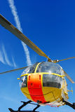 Rescue helicopter. Against blue sky royalty free stock photo