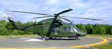 Rescue Helicopter. At the ready in Ireland - full side view royalty free stock image