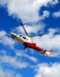 Rescue Helicopter. Coming to a landing Royalty Free Stock Photo