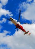 Rescue Helicopter. Coming to a landing Royalty Free Stock Photography