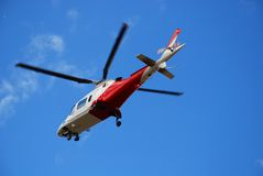 Rescue Helicopter. Coming to a landing Stock Image