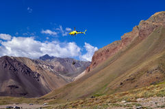 Rescue helicopter at Aconcagua Provincial Park Stock Photos