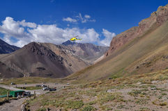 Rescue helicopter at Aconcagua Provincial Park Royalty Free Stock Photography