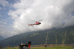 Rescue helicopter Alps Stock Image