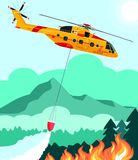 Rescue helicopter extinguishes the fire forest with water bucket  illustration. Rescue helicopter extinguishes the fire forest with water bucket Stock Photography