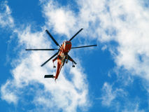 Rescue Helicopter in flight. In the sky stock image