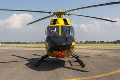 Rescue helicopter on the ground in airport. Rescue yellow helicopter on the ground in airport stock images