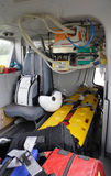 Rescue helicopter inside. Interior of the medical helicopter, indoors Stock Image
