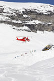 Rescue helicopter landing Royalty Free Stock Image