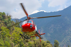 Rescue helicopter. In the mountain, Nepal stock image