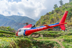 Rescue helicopter. In the mountain, Nepal stock images