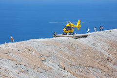 Rescue helicopter and people at Vulcano Island near Sicily, Italy Stock Image