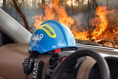 Rescue helmet put inside vehicle Royalty Free Stock Photography