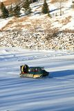 Rescue Hovercraft. A fire department rescue vehicle on a frozen river Royalty Free Stock Photos