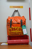 Rescue kit. GREYMOUTH, NEW ZEALAND, MAY 20, 2015: A trauma kit packed and ready to go at a working coal mine near Greymouth, New Zealand stock photos