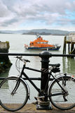 Rescue lifeboat in cobh with bicycle Stock Images