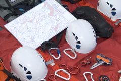 Rescue material with maps. And objects to climb stock photography
