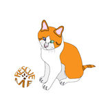 Rescue me ginger cat. Outlined vector illustration of white and ginger cat next to the rescue me sign Royalty Free Stock Photos