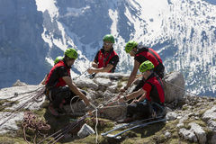 Rescue in the mountain of Dolomites, Italy Royalty Free Stock Photography