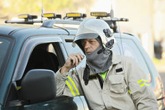 Rescue officer on radio Stock Image