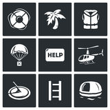 Rescue operation icons set. Vector Illustration. Royalty Free Stock Images