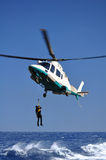 Rescue operation at sea by helicopter Royalty Free Stock Photos