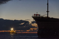 Rescue operations of a stranded cargo ship Stock Photography