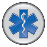 Rescue Paramedic Medical Button. Is an illustration of a button with an image of a Star of Life rescue or paramedic symbol Stock Photography