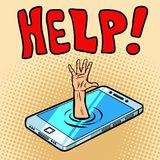 Rescue by phone. Helping hand stock illustration
