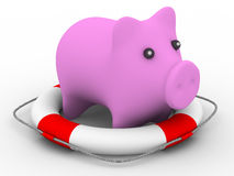 Rescue of pink pig Royalty Free Stock Photo