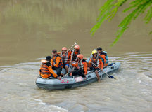 Rescue. R currently searching corpses drifting in the river in Sukoharjo, Central Java, Indonesia Stock Photography