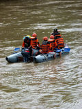 Rescue. R currently searching corpses drifting in the river in Sukoharjo, Central Java, Indonesia Stock Photo