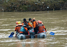 Rescue. R currently searching corpses drifting in the river in Sukoharjo, Central Java, Indonesia Royalty Free Stock Images