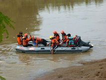 Rescue. R currently searching corpses drifting in the river in Sukoharjo, Central Java, Indonesia Royalty Free Stock Photo